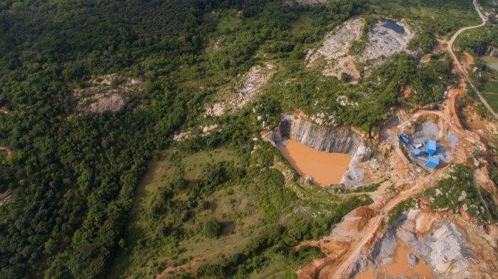 A stone quarry at Bannerghatta National Park, Bengaluru.