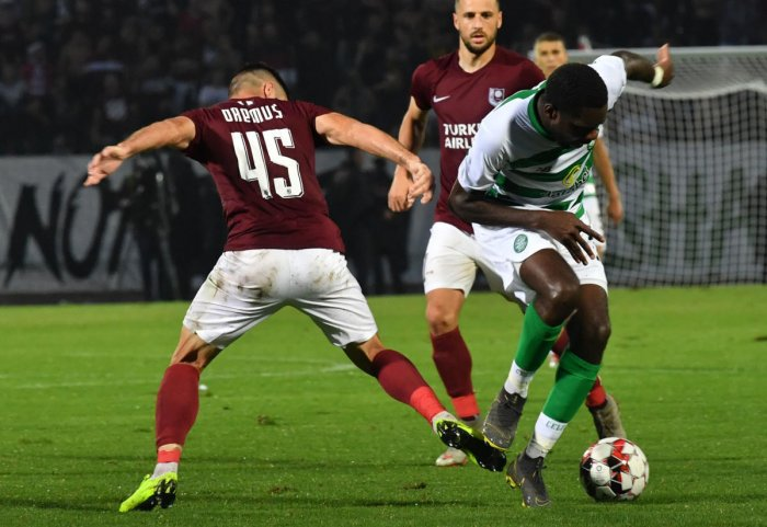 Odsonne Edouard of Celtic F.C. (R) vies with Mirko Oremus of F.K. Sarajevo (L) during the UEFA Champions League first round qualifier match between Sarajevo and Celtic Glasgow, in Sarajevo. (Photo AFP)