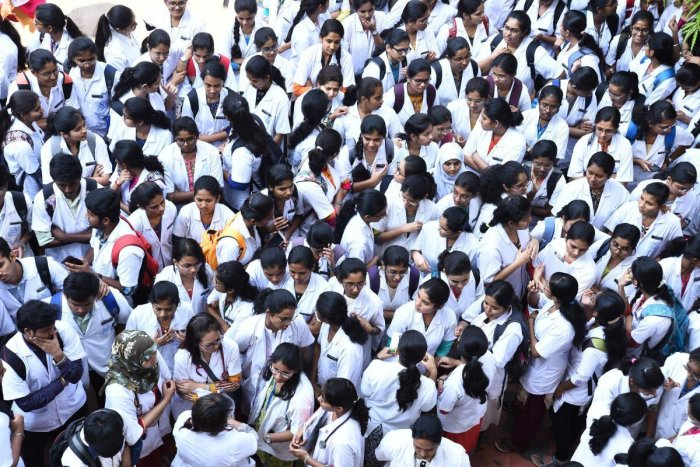 This year, several student organisations staged a protest demanding that the government withdraw the fee hike for medical courses. dh file photo