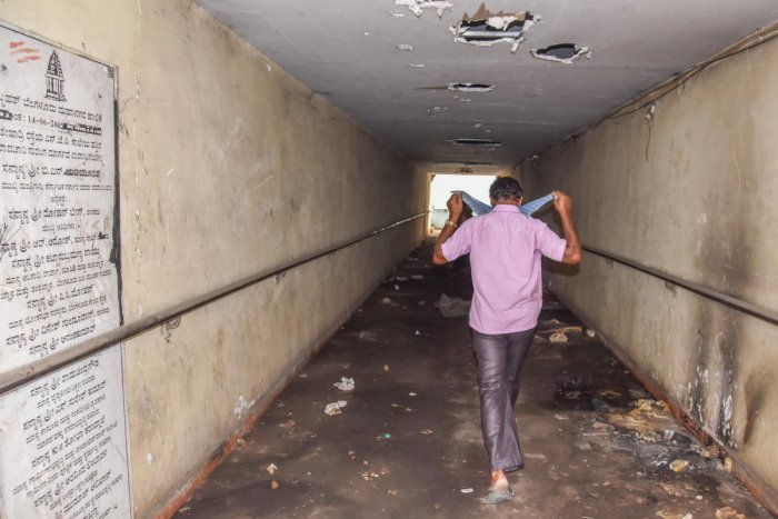 Seshadri Road is in the heart of Bengaluru, near Freedom Park. This is the state of its subway. Dh PHotos by S K Dinesh
