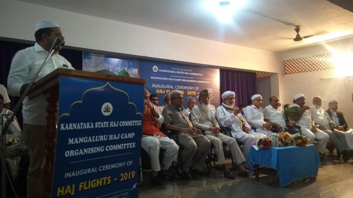 District In-charge Minister U T Khader speaks at the inaugural ceremony of Hajj flights on the Ansar school campus in Bajpe on Wednesday.