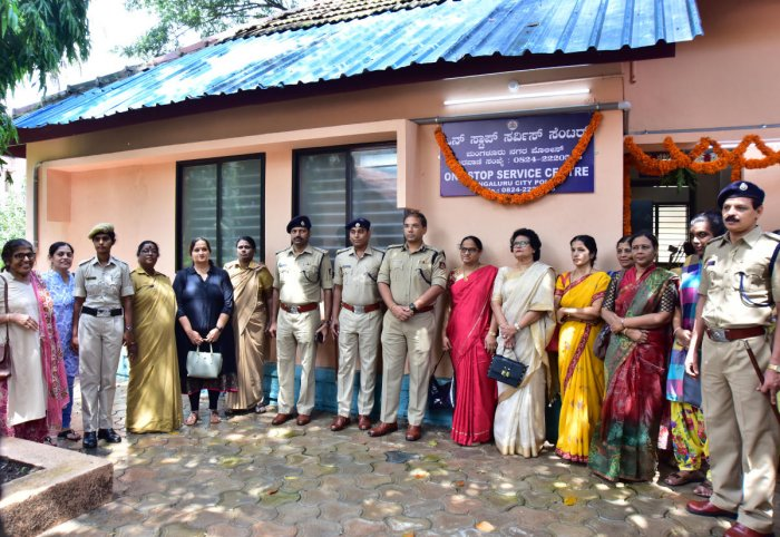 Mangaluru City Police Commissioner Sandeep Patil attends the inauguration of One Stop Service Centre in Pandeshwar, Mangaluru, on Wednesday.