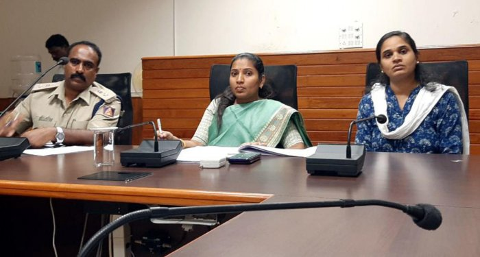 Deputy Commissioner Hephsiba Rani Korlapati chairs a meeting in the DC's office in Manipal on Wednesday.