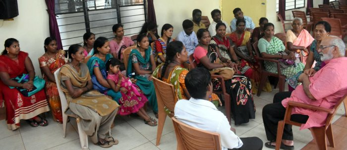 Human Rights Protection Foundation (HRPF) President Ravindranath Shanbhag speaks to members of Koraga community in Udupi.