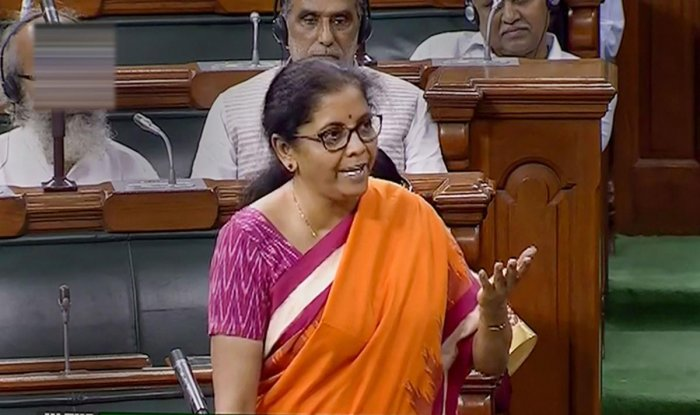 Union Finance Minister Nirmala Sitharaman speaks in the Lok Sabha during the Budget Session of Parliament, in New Delhi, Thursday, July 18, 2019. (LSTV/PTI Photo)