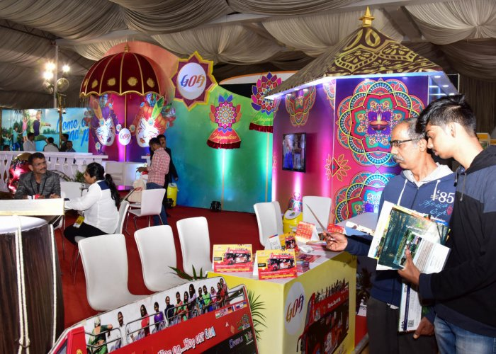 Visitors at the Goa pavilion at the Travel and Tourism Exhibition in Bengaluru on Friday. PHOTO/ B H SHIVAKUMAR