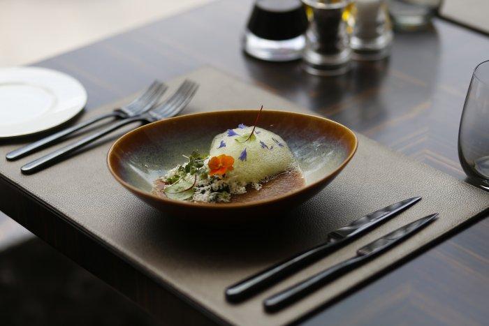 Local Melon Gazpacho-basil granita, basil foam, ricotta salata