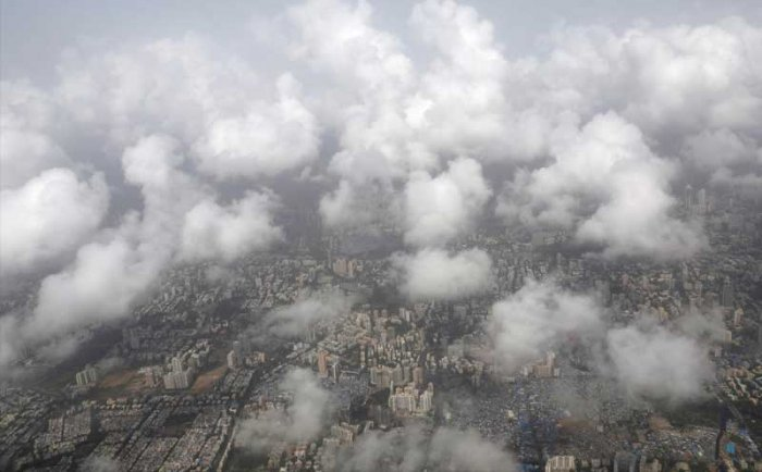 An aerial view shows monsoon clouds over Mumbai, India, June 14, 2018. REUTERS/Danish Siddiqui