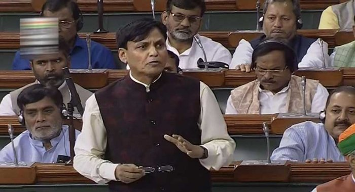 Minister of State for Home Nityanand Rai speaks in the Lok Sabha during the Budget Session of Parliament, in New Delhi. (PTI Photo)