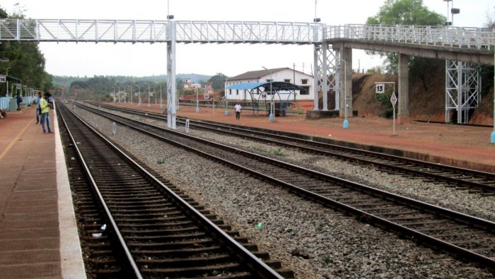 The Konkan Railway line at the Kumta station, Uttara Kannada.
