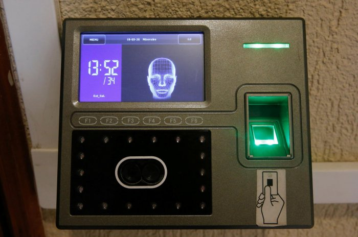 Biometric recognition machines outside 'VVIP' bathrooms of the Ministry of Industries and Production. (Reuters Representative Image)