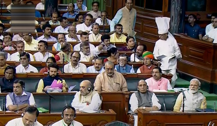 **EDS: VIDEO GRAB** New Delhi: Prime Minister Narendra Modi, Home Minister Amit Shah, Defence Minister Rajnath Singh, Union Minister for Road Transport and Highways Nitin Gadkari and others in the Lok Sabha during the Budget Session of Parliament, in New