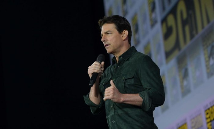 """Tom Cruise makes a surprise appearance in Hall H to promote """"Top Gun: Maverick"""" at the Convention Center during Comic Con in San Diego, California. AFP Photo"""