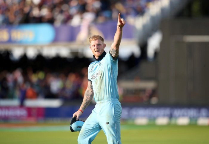 England's Ben Stokes celebrates winning the World Cup. Photo credit: Reuters