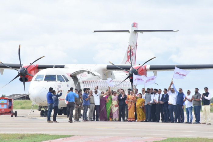 New flight services being launched from Mysuru to Hyderabad, Kochi and Goa at Mysuru Airport in Mandakalli, near Mysuru, on Friday.