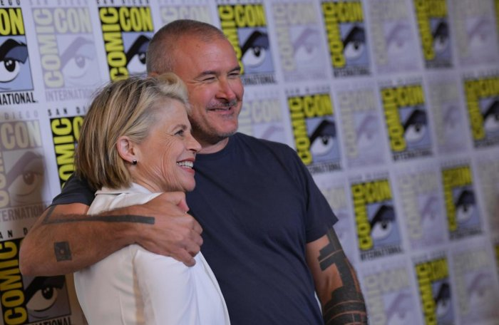 """Actress Linda Hamilton and director Tim Miller arrive for the """"Terminator: Dark Fate"""" red carpet event at the Hilton Bayfront during Comic-Con in San Diego. AFP Photo"""