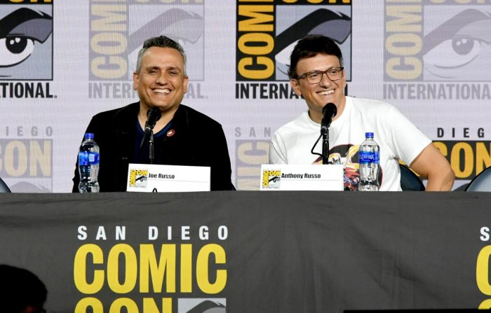 "Joe Russo and Anthony Russo speak at the Writing ""Avengers: Endgame"" Panel during 2019 Comic-Con International at San Diego Convention Center on July 19, 2019 in San Diego, California. AFP"
