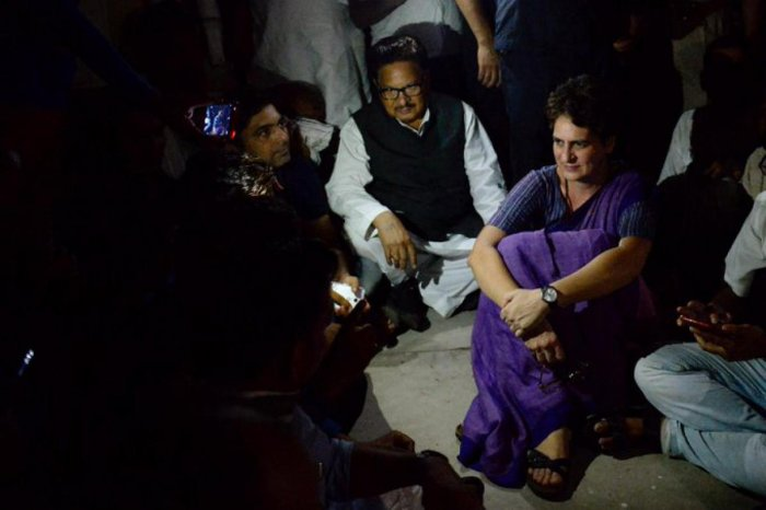 The Congress General Secretary stayed overnight at a guesthouse (PTI Photo)