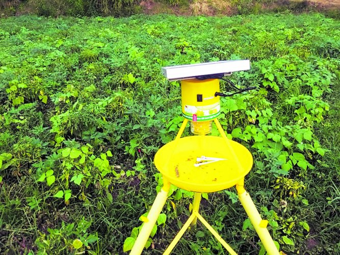 The expensive solar light-powered insect traps being sold to unsuspecting farmers under the centre-sponsored PMKSY by Agriculture department in Kodagu district.