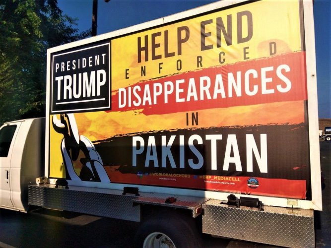 The massive billboards installed on large mobile started running on the streets of Washington DC on the eve of the arrival of Pakistan Prime Minister Imran Khan.