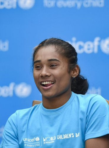 New Delhi: Asian Games gold medalist athelete Hima Das after she was appointed UNICEF's Youth Ambassador at an event in New Delhi, Wednesday, Nov 14, 2018. (PTI Photo/Kamal Singh) (PTI11_14_2018_000173A)