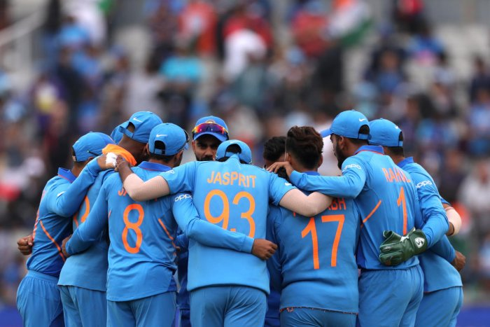 Cricket - ICC Cricket World Cup Semi Final - India v New Zealand - Old Trafford, Manchester, Britain - July 9, 2019 India players in a huddle before the match Action Images via Reuters/Lee Smith