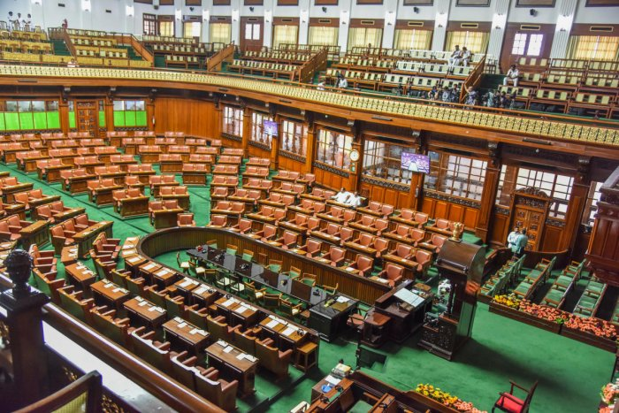 A view of the Assembly hall in Vidhana Soudha. The Assembly will resume discussion on trust vote on Monday. DH File Photo