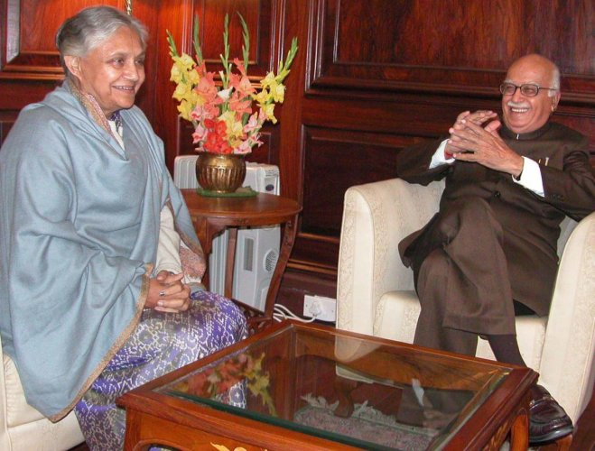 **FILE** New Delhi: In this file photo dated Dec 18, 2003, Delhi Pradesh Congress Committee (DPCC) President Sheila Dikshit is seen with senior BJP leader LK Advani. Former Delhi chief minister Dikshit passed away at the age of 81, in New Delhi, Saturday,