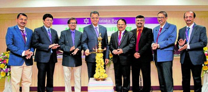 Karnataka Bank MD and CEO Mahabaleshwara M S inaugurates 'Agri Business Conference' of Karnataka Bank in Mangaluru on Saturday.