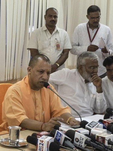 Sonbhadra: Uttar Pradesh Chief Minister Yogi Adityanath addresses a press conference in Sonbhadra, Sunday, July 21, 2019. (PTI Photo)