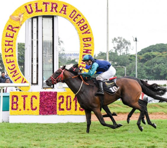 TENSE CLIMAX: Jockey David Allan pilots Well Connected to a thrilling win over Impavid (back) in the Kingfisher Ulta Derby Bangalore at the Bangalore Turf Club on Sunday. dh photo/ BH SHIVAKUMAR