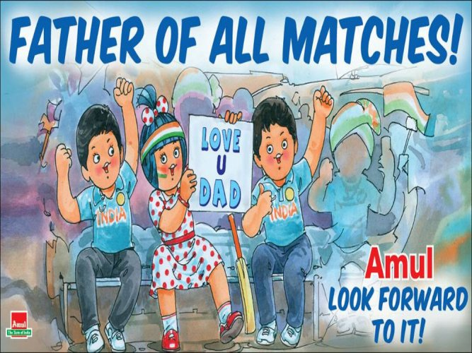 Amul takes jabs at India-Pakistan final with a Father's Day touch