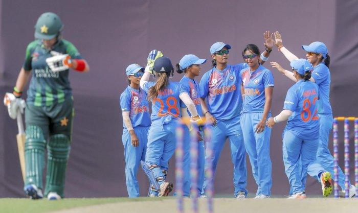 lndian women team members celebrate wicket of Javeria Khan of Pakistan during Women's Twenty20 Asia Cup between the two countries in Kuala Lumpur, Malaysia on Saturday, June 09 2018. (PTI Photo)