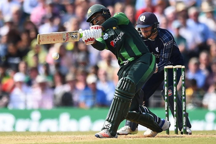FETCH THAT! Pakistan's Sarfraz Ahmed hits one to the boundary during his match-winning 89 against Scotland on Tuesday. AFP