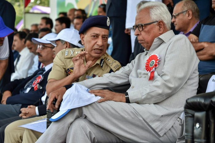 Jammu and Kashmir Governor NN Vohra and DGP SP Vaid. PTI File Photo