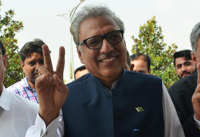 Dr Alvi had defeated Pakistan Peoples Party candidate Aitzaz Ahsan and the Pakistan Muslim League-N nominee Maulana Fazl ur Rehman in a three-way presidential contest. AFP file photo
