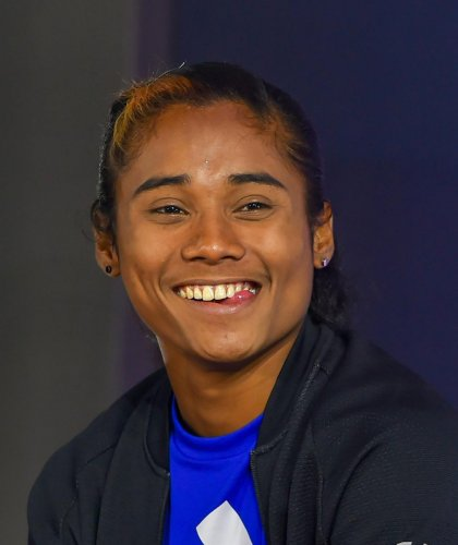 Indian athletics' High-Performance Director Volker Herrmann feels star sprinter Hima Das is nearing her best, having won five successive gold medals in three weeks in Europe. (PTI File Photo)