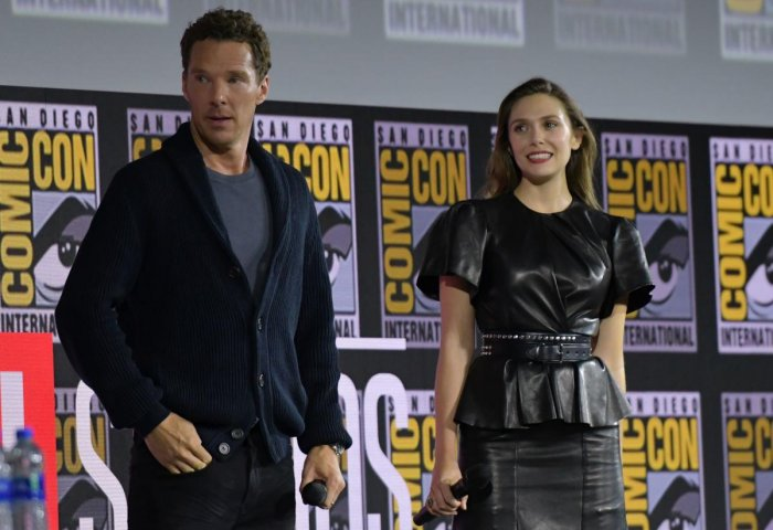 English actor Benedict Cumberbatch and US actress Elizabeth Olsen during the Marvel panel in Hall H of the Convention Center during Comic Con in San Diego, California on July 20, 2019. (Photo by Chris Delmas / AFP)