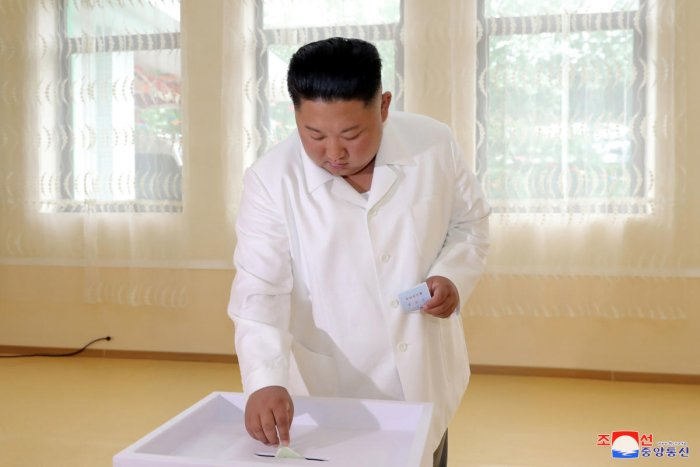 North Korean leader Kim Jong Un casts his vote in an election for deputies for local assemblies in Pyongyang, North Korea. (Reuters Photo)