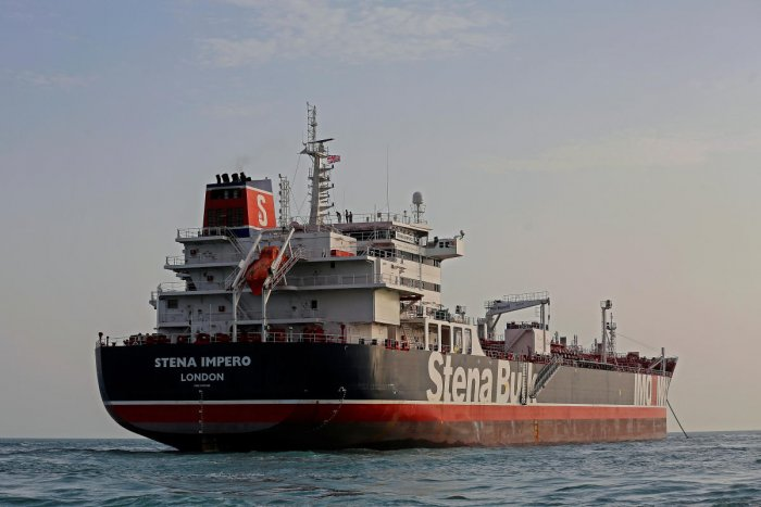 Stena Impero, a British-flagged vessel owned by Stena Bulk, is seen at Bandar Abbas port. Reuters Photo)