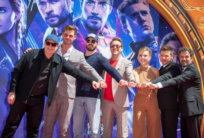 (From L-R) President of Marvel Studios/Producer Kevin Feige, actors Chris Hemsworth, Chris Evans, Robert Downey Jr., Scarlett Johansson, Mark Ruffalo and Jeremy Renner attend the Marvel Studios' 'Avengers: Endgame' handprint ceremony at TCL Chinese Theatr