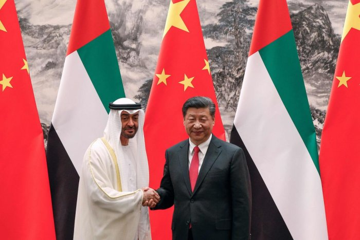Abu Dhabi's Crown Prince Mohammed bin Zayed (L) with Chinese President Xi Jinping. Photo credit: AFP