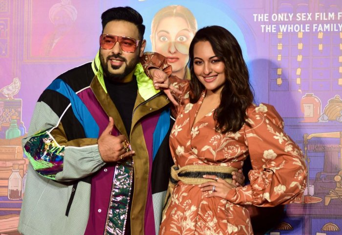 Rap-music composer and singer Badshah (L) and Bollywood actress Sonakshi Sinha (R) attend the trailer launch of their upcoming Hindi film 'Khandaani Shafakhana' in Mumbai on July 22, 2019. (Photo by Sujit Jaiswal / AFP)