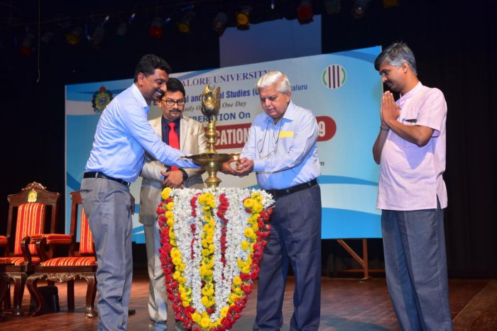 Retired English professor Prof Sukumar Gowda inaugurates a deliberation on draft National Education Policy 2019 organised jointly by Mangalore University and Centre for Educational and Social Studies at Mangalagangothri on Monday.