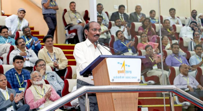 Indian Space Research Organisation (ISRO) Chairman Kailasavadivoo Sivan's address after the successful launch of GSLV MkIII-M1 rocket carrying Chandrayaan-2 from Satish Dhawan Space Centre, at Sriharikota in Nellore district. (PTI Photo)