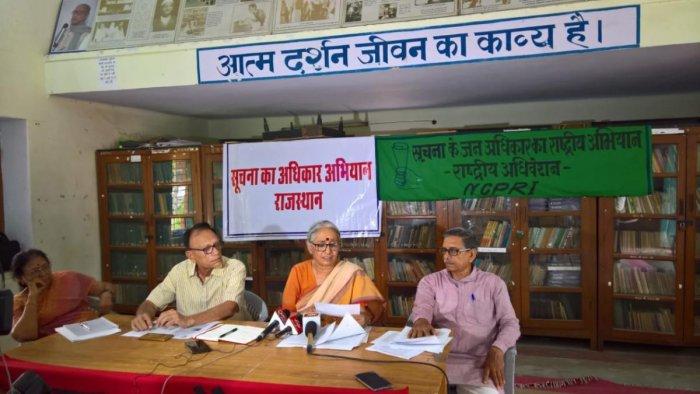 Social activist and founder of Mazdoor Kisan Shakti Sangathan (MKSS) Aruna Roy during a press conference in Jaipur on Monday.
