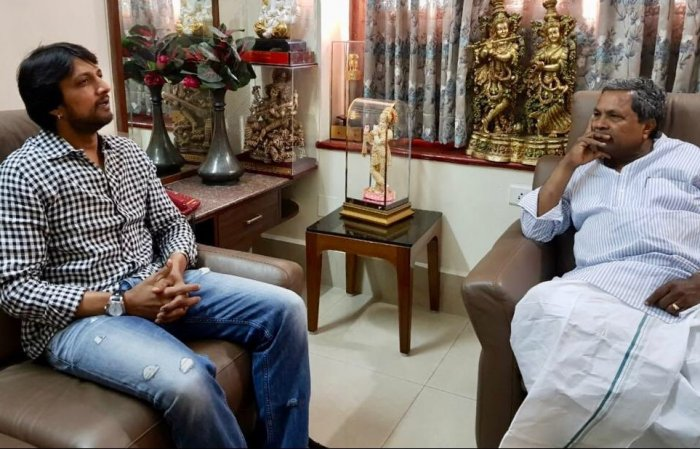 Amid speculation of joining the JD(S), actor Sudeep meets CM Siddaramaiah