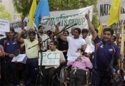 Disabled sportspersons protest outside Sports Ministry