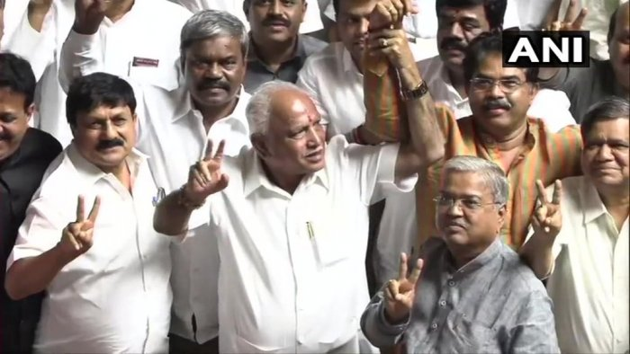BS Yeddyurappa after the coalition government lost in the trust vote. Photo credit: ANI twitter