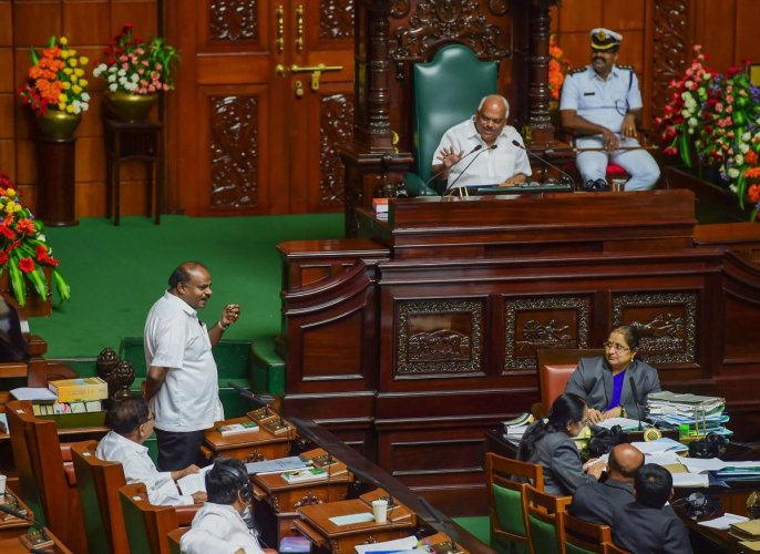 """Karnataka Chief Minister H D Kumaraswamy on Tuesday said he was ready to """"sacrifice"""" his post happily, as he replied to the confidence motion debate in the assembly. PTI"""